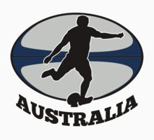 rugby player running kicking ball australia  by patrimonio