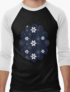 Dark Blue White Flowers Men's Baseball ¾ T-Shirt