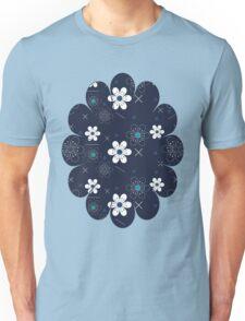 Dark Blue White Flowers Unisex T-Shirt