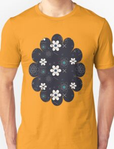 Dark Blue White Flowers Unisex T-Shirt