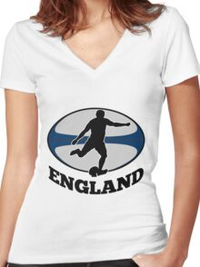 rugby player running kicking ball England Women's Fitted V-Neck T-Shirt
