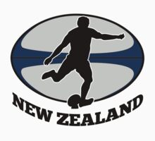 New Zealand rugby player running kicking ball by patrimonio