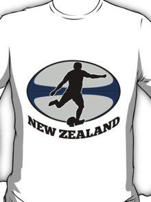 New Zealand rugby player running kicking ball T-Shirt