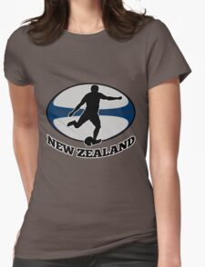 New Zealand rugby player running kicking ball Womens Fitted T-Shirt