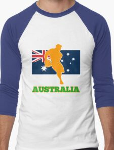 rugby player passing ball with Australia Flag Men's Baseball ¾ T-Shirt