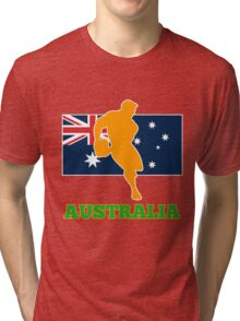 rugby player passing ball with Australia Flag Tri-blend T-Shirt