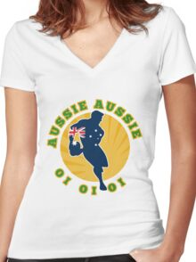 rugby player running passing ball Australia Women's Fitted V-Neck T-Shirt