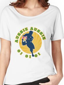 rugby player running passing ball Australia Women's Relaxed Fit T-Shirt