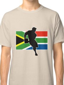 rugby player passing ball south africa flag Classic T-Shirt