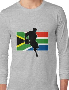 rugby player passing ball south africa flag Long Sleeve T-Shirt