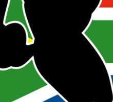 rugby player passing ball south africa flag Sticker