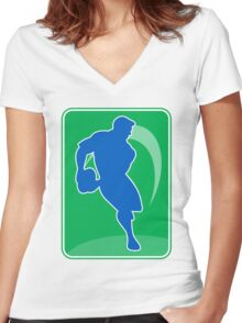 rugby player running with ball Women's Fitted V-Neck T-Shirt
