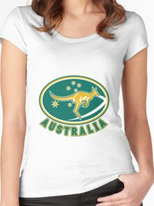 Rugby Wallabies Kangaroo Australia Women's Fitted Scoop T-Shirt