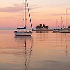 """Peaceful Harbor"" - sailboats anchored in harbor by John Hartung"