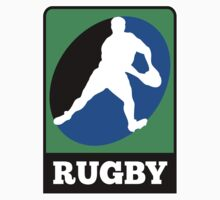 rugby player running passing ball by patrimonio