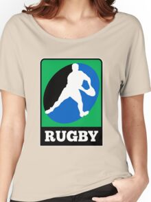 rugby player running passing ball Women's Relaxed Fit T-Shirt