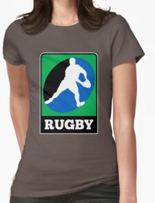 rugby player running passing ball Womens Fitted T-Shirt
