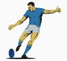 rugby player running kicking ball by patrimonio