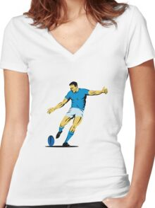 rugby player running kicking ball Women's Fitted V-Neck T-Shirt