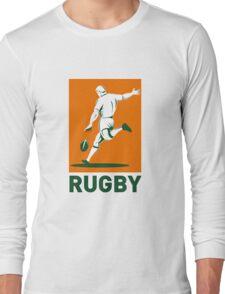 rugby player running kicking ball  Long Sleeve T-Shirt