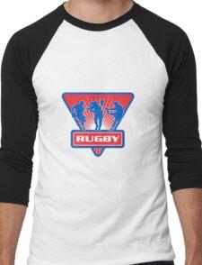 rugby player running kicking passing ball Men's Baseball ¾ T-Shirt