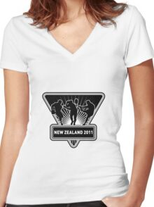 rugby player running kicking passing new zealand Women's Fitted V-Neck T-Shirt