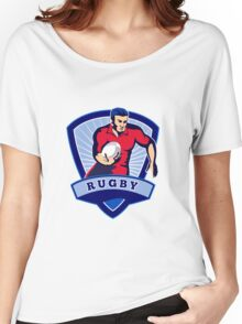 rugby player running with ball shield Women's Relaxed Fit T-Shirt