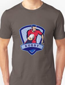 rugby player running with ball shield Unisex T-Shirt