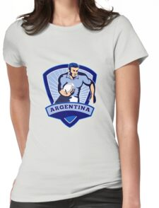 rugby player running with ball argentina Womens Fitted T-Shirt