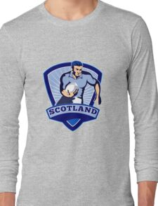 rugby player running with ball scotland Long Sleeve T-Shirt