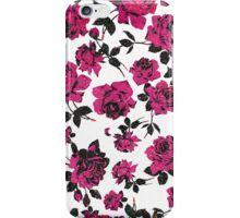Rustic Pink and Black Stem Rose Pattern iPhone Case/Skin