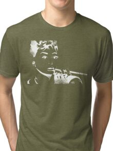 """I never thought I'd land in pictures with a face like mine."" - A. Hepburn Tri-blend T-Shirt"