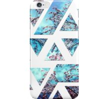 Pretty Pink Cherry Blossoms on Sky Blue Geometric  iPhone Case/Skin