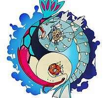 Paint-Splattered Aquatic Yin Yang - Gyarados & Milotic by vaguelygenius