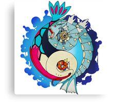 Paint-Splattered Aquatic Yin Yang - Gyarados & Milotic Canvas Print