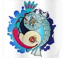 Paint-Splattered Aquatic Yin Yang - Gyarados & Milotic Poster