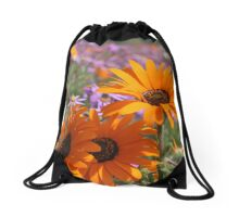 Orange and Purple Flowers Drawstring Bag