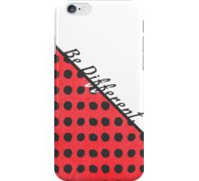 """""""Be Different."""" Typography on Red Black Polka Dots iPhone Case/Skin"""