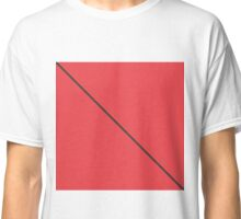 Modern Minimalistic Black Stripe on Coral Red Classic T-Shirt