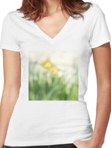 Soft daffodils Women's Fitted V-Neck T-Shirt