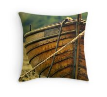 wooden fishing boat.3 Throw Pillow
