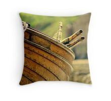 wooden fishing boat.6 Throw Pillow