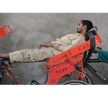 Sleeping rickshaw man Photographic Print
