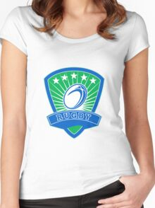 rugby ball and shield Women's Fitted Scoop T-Shirt