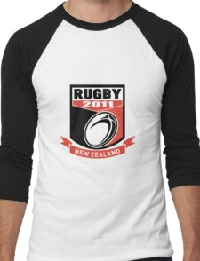new zealand 2011 rugby ball and shield Men's Baseball ¾ T-Shirt