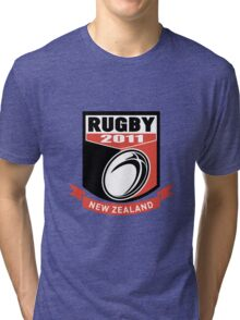 new zealand 2011 rugby ball and shield Tri-blend T-Shirt