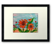 3 daiseys  and tiny red flowers  in watercolor Framed Print