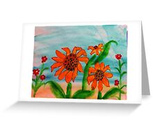 3 daiseys  and tiny red flowers  in watercolor Greeting Card