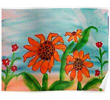 3 daiseys  and tiny red flowers  in watercolor Poster