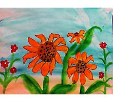 3 daiseys  and tiny red flowers  in watercolor Photographic Print